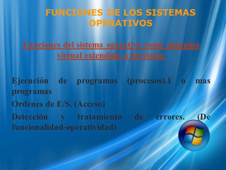 Funciones del sistema operativo como maquina virtual extendida o Servicios: Ejecución de programas (procesos).1 o mas programas Ordenes de E/S. (Acces