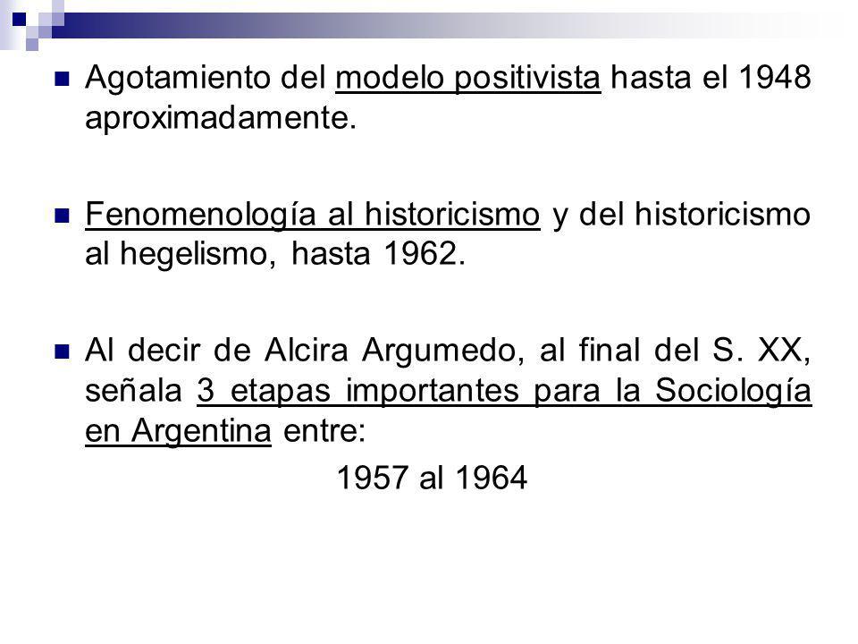 Agotamiento del modelo positivista hasta el 1948 aproximadamente. Fenomenología al historicismo y del historicismo al hegelismo, hasta 1962. Al decir