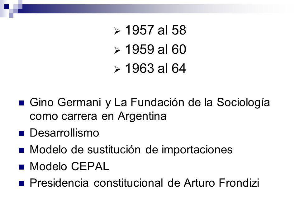 1957 al 58 1959 al 60 1963 al 64 Gino Germani y La Fundación de la Sociología como carrera en Argentina Desarrollismo Modelo de sustitución de importa