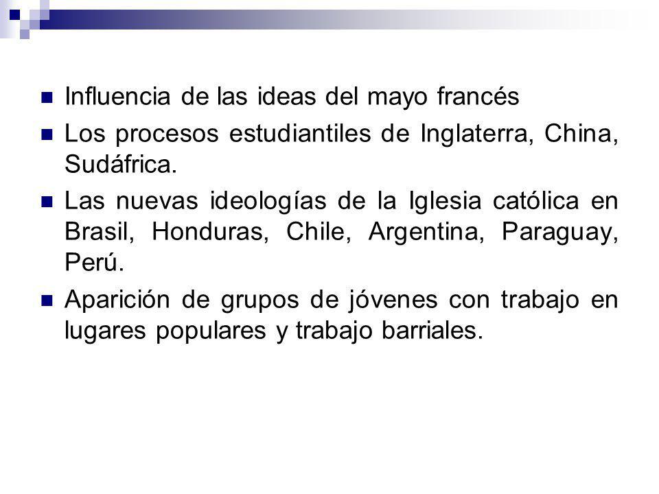 Influencia de las ideas del mayo francés Los procesos estudiantiles de Inglaterra, China, Sudáfrica. Las nuevas ideologías de la Iglesia católica en B