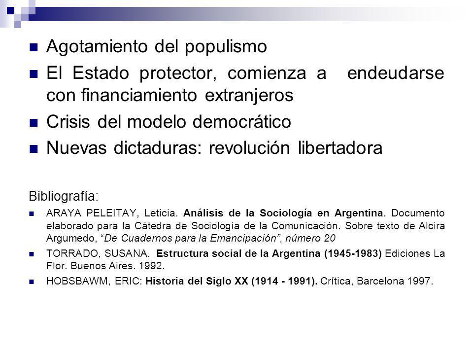 Agotamiento del populismo El Estado protector, comienza a endeudarse con financiamiento extranjeros Crisis del modelo democrático Nuevas dictaduras: r
