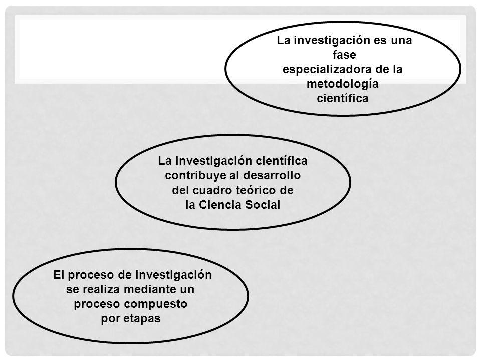 La investigación es una fase especializadora de la metodología científica La investigación científica contribuye al desarrollo del cuadro teórico de l