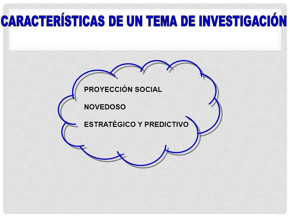 PROYECCIÓN SOCIAL NOVEDOSO ESTRATÉGICO Y PREDICTIVO