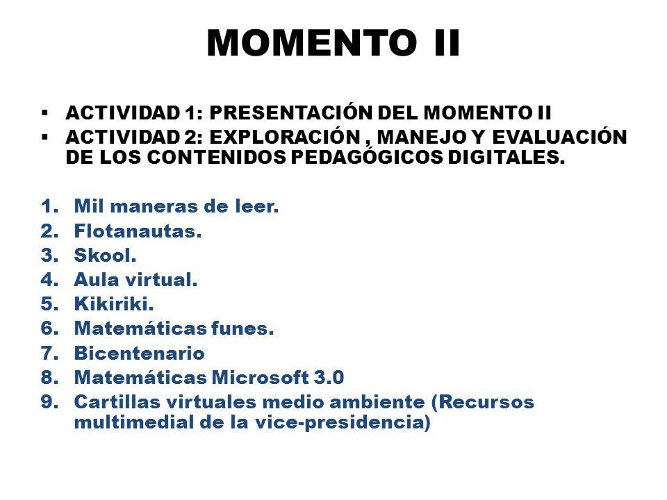 MOMENTO II ACTIVIDAD 1: PRESENTACIÓN DEL MOMENTO II ACTIVIDAD 2: EXPLORACIÓN, MANEJO Y EVALUACIÓN DE LOS CONTENIDOS PEDAGÓGICOS DIGITALES. 1.Mil maner