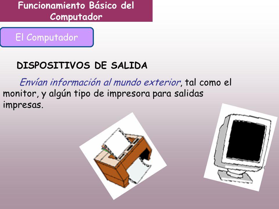 Funcionamiento Básico del Computador El Computador DISPOSITIVOS DE SALIDA Envían información al mundo exterior, tal como el monitor, y algún tipo de impresora para salidas impresas.