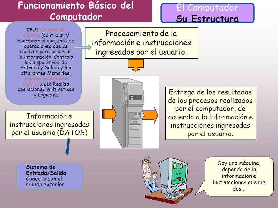 Información e instrucciones ingresadas por el usuario (DATOS) Procesamiento de la información e instrucciones ingresadas por el usuario.