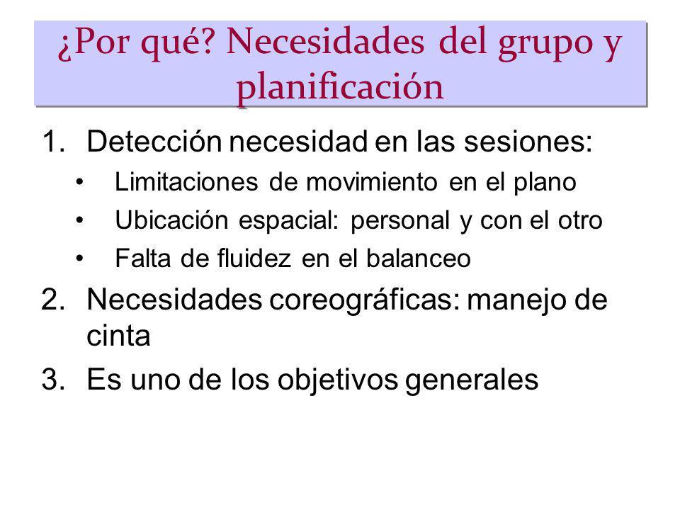 ¿Por qué? Necesidades del grupo y planificación 1.Detección necesidad en las sesiones: Limitaciones de movimiento en el plano Ubicación espacial: pers