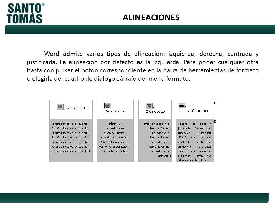 ALINEACIONES Word admite varios tipos de alineación: izquierda, derecha, centrada y justificada. La alineación por defecto es la izquierda. Para poner
