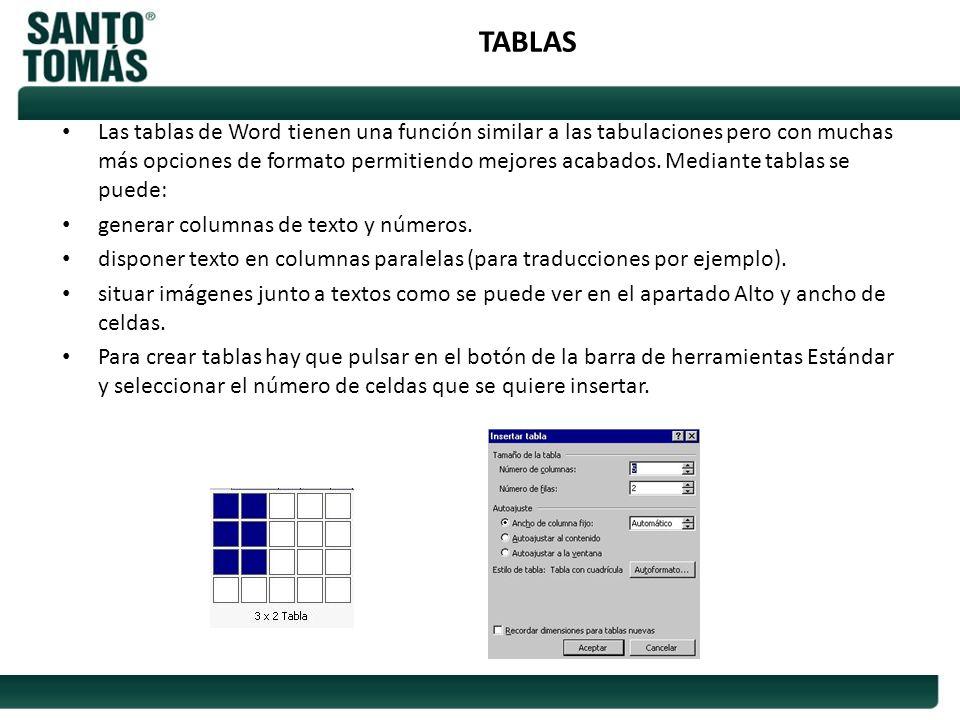 TABLAS Las tablas de Word tienen una función similar a las tabulaciones pero con muchas más opciones de formato permitiendo mejores acabados. Mediante