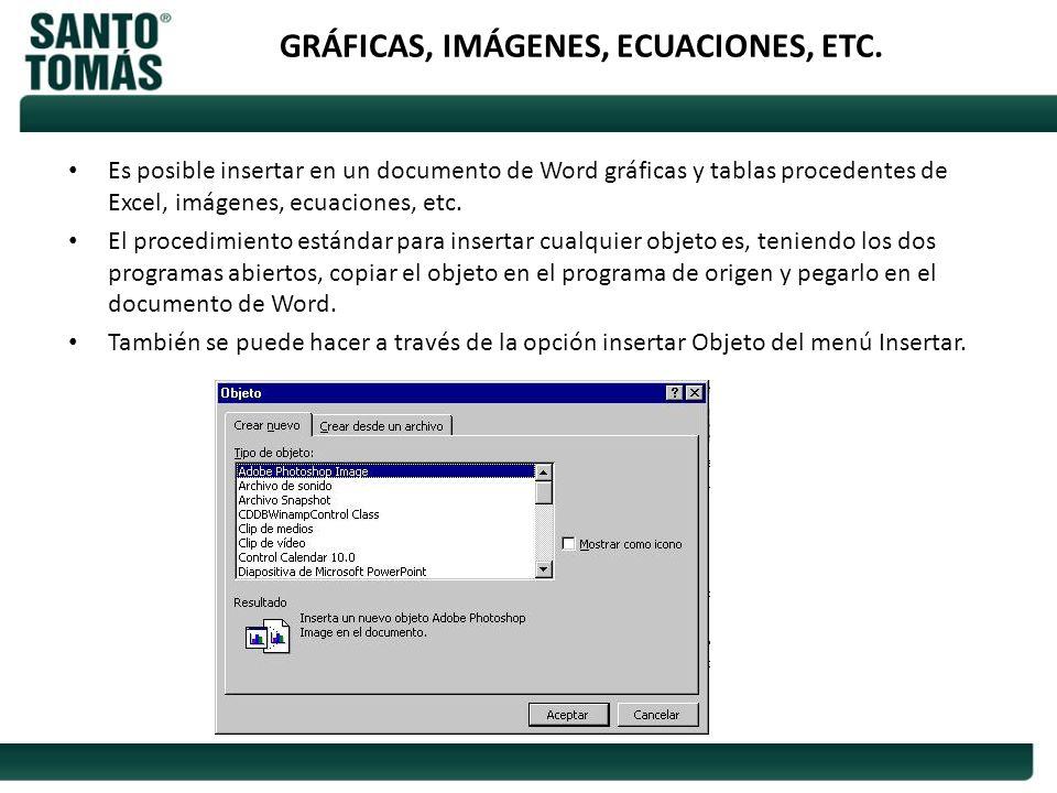 GRÁFICAS, IMÁGENES, ECUACIONES, ETC. Es posible insertar en un documento de Word gráficas y tablas procedentes de Excel, imágenes, ecuaciones, etc. El