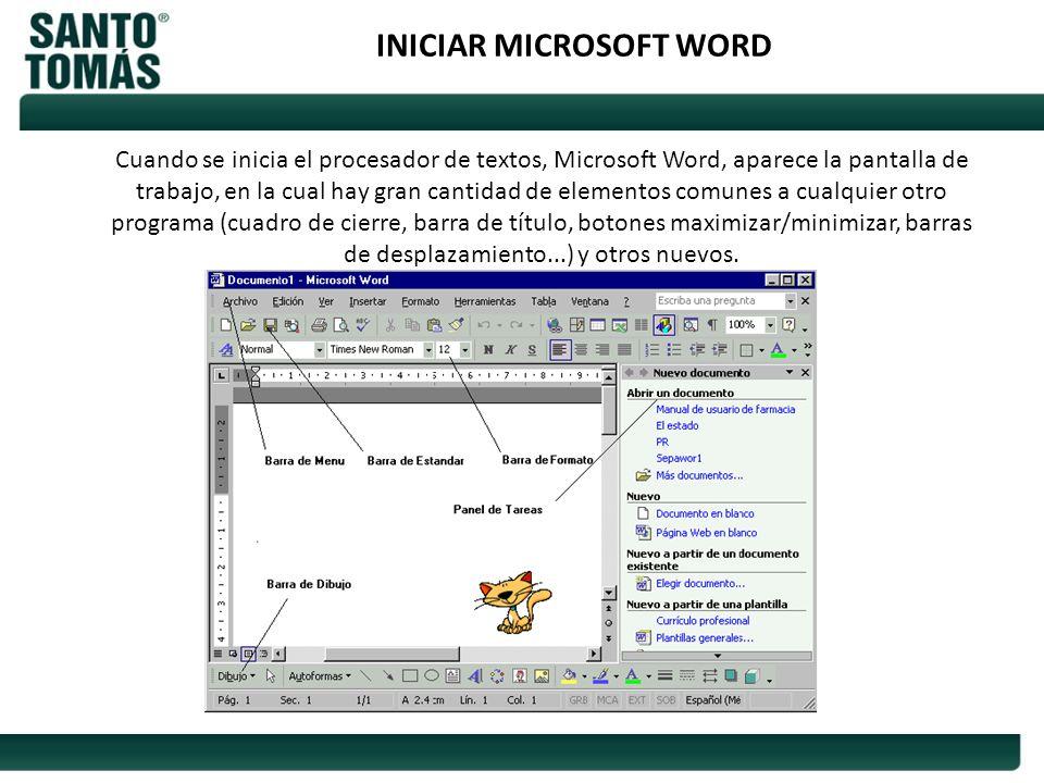 INICIAR MICROSOFT WORD Cuando se inicia el procesador de textos, Microsoft Word, aparece la pantalla de trabajo, en la cual hay gran cantidad de eleme