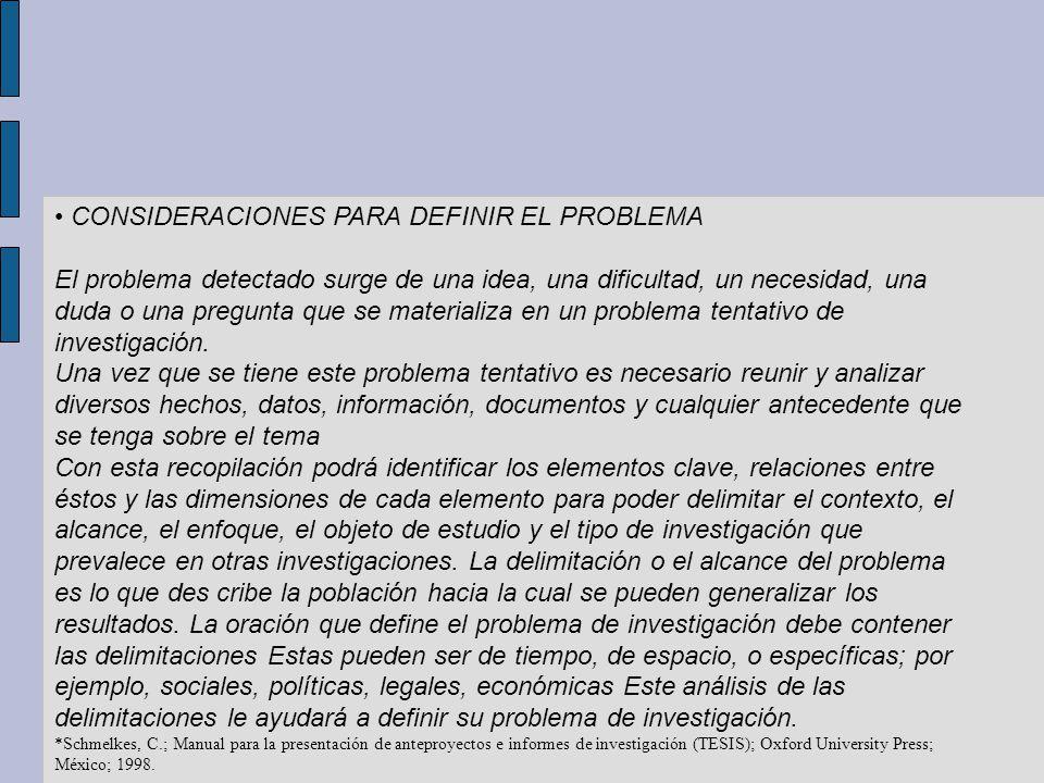 CONSIDERACIONES PARA DEFINIR EL PROBLEMA El problema detectado surge de una idea, una dificultad, un necesidad, una duda o una pregunta que se materia