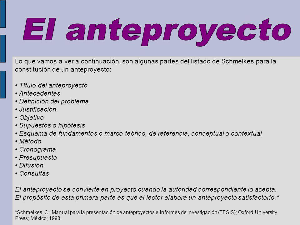 Un anteproyecto define el tema por investigar así como los motivos por los cuales se aborda.