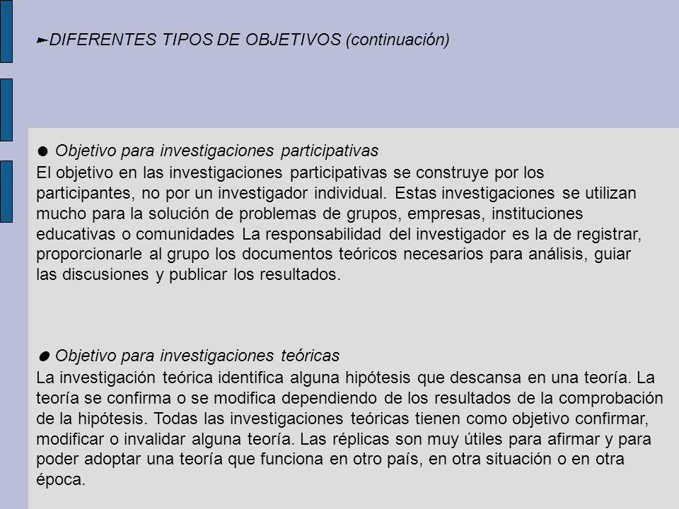 Objetivo para investigaciones participativas El objetivo en las investigaciones participativas se construye por los participantes, no por un investiga