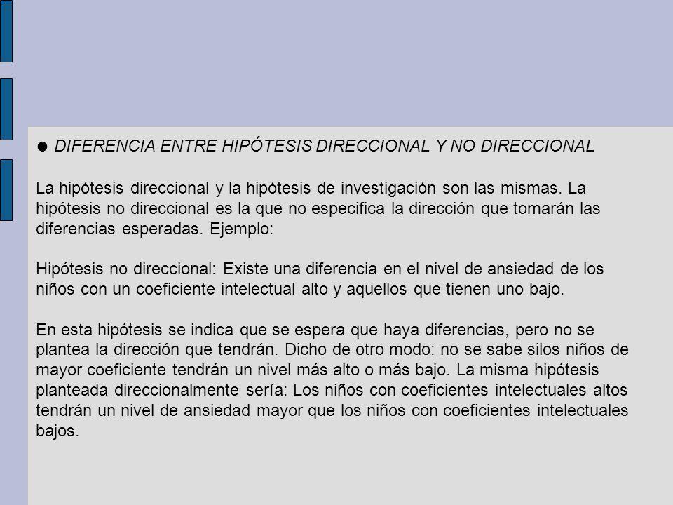 DIFERENCIA ENTRE HIPÓTESIS DIRECCIONAL Y NO DIRECCIONAL La hipótesis direccional y la hipótesis de investigación son las mismas. La hipótesis no direc