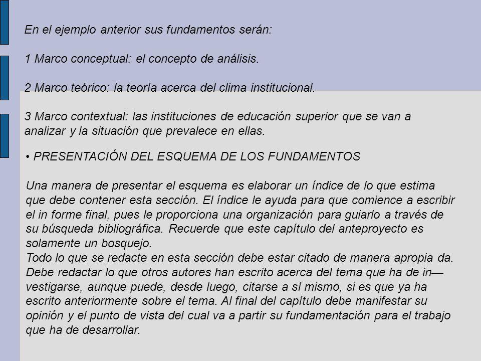 En el ejemplo anterior sus fundamentos serán: 1 Marco conceptual: el concepto de análisis. 2 Marco teórico: la teoría acerca del clima institucional.