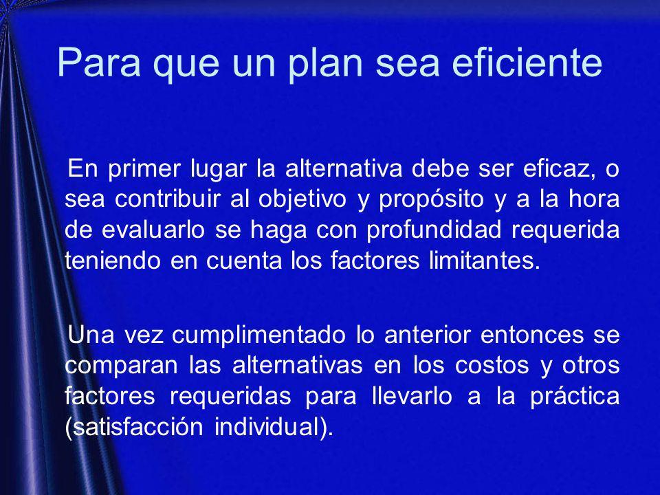 Para que un plan sea eficiente En primer lugar la alternativa debe ser eficaz, o sea contribuir al objetivo y propósito y a la hora de evaluarlo se haga con profundidad requerida teniendo en cuenta los factores limitantes.