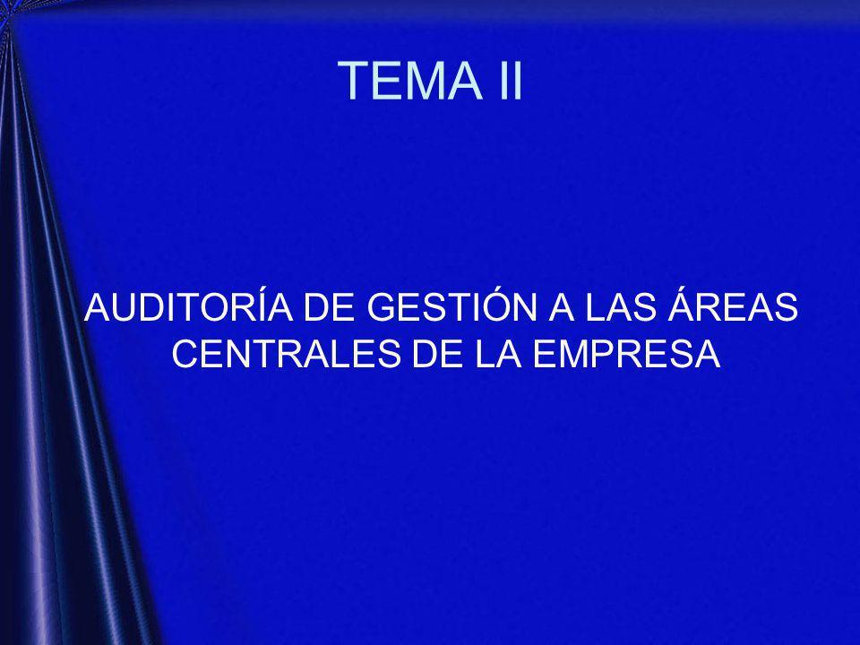 TEMA II AUDITORÍA DE GESTIÓN A LAS ÁREAS CENTRALES DE LA EMPRESA