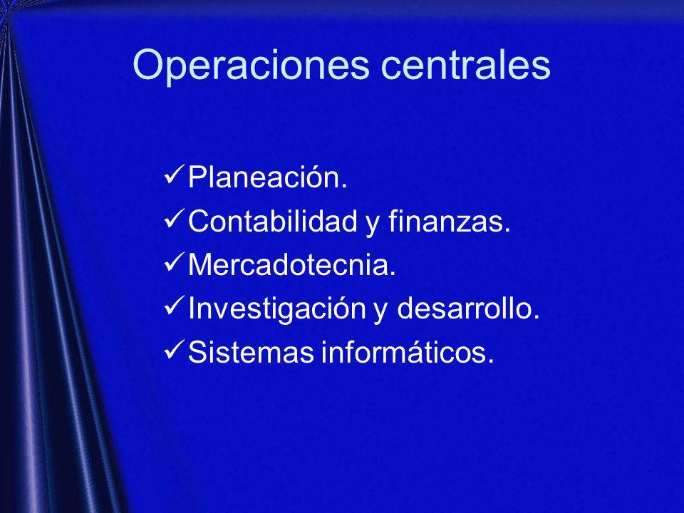 Operaciones centrales Planeación.Contabilidad y finanzas.