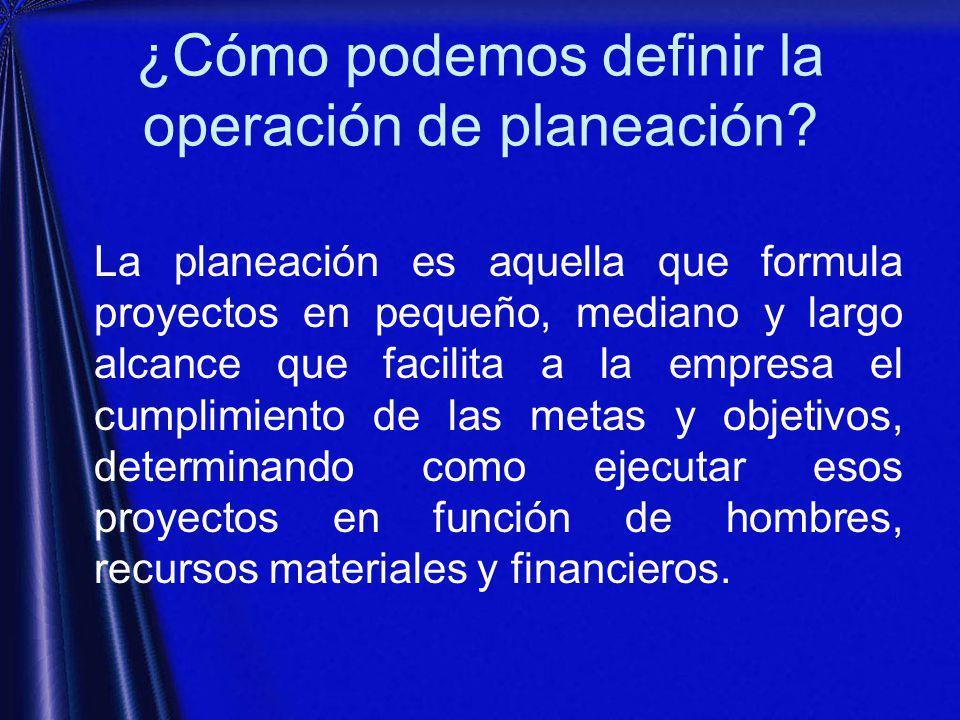 ¿Cómo podemos definir la operación de planeación.