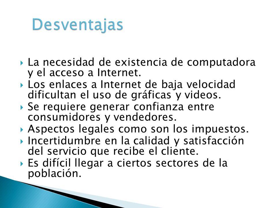 La necesidad de existencia de computadora y el acceso a Internet. Los enlaces a Internet de baja velocidad dificultan el uso de gráficas y videos. Se