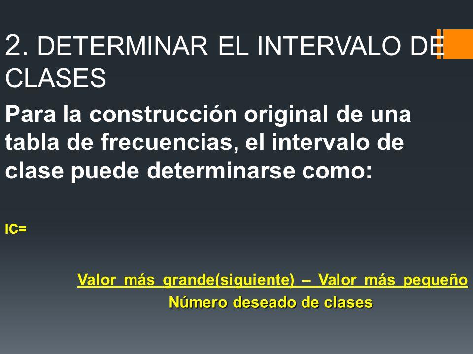 2. DETERMINAR EL INTERVALO DE CLASES Para la construcción original de una tabla de frecuencias, el intervalo de clase puede determinarse como: IC= Núm
