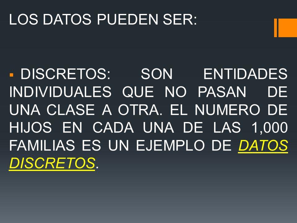 LOS DATOS PUEDEN SER: DISCRETOS: SON ENTIDADES INDIVIDUALES QUE NO PASAN DE UNA CLASE A OTRA.