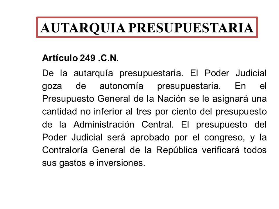 Artículo 249.C.N. De la autarquía presupuestaria. El Poder Judicial goza de autonomía presupuestaria. En el Presupuesto General de la Nación se le asi