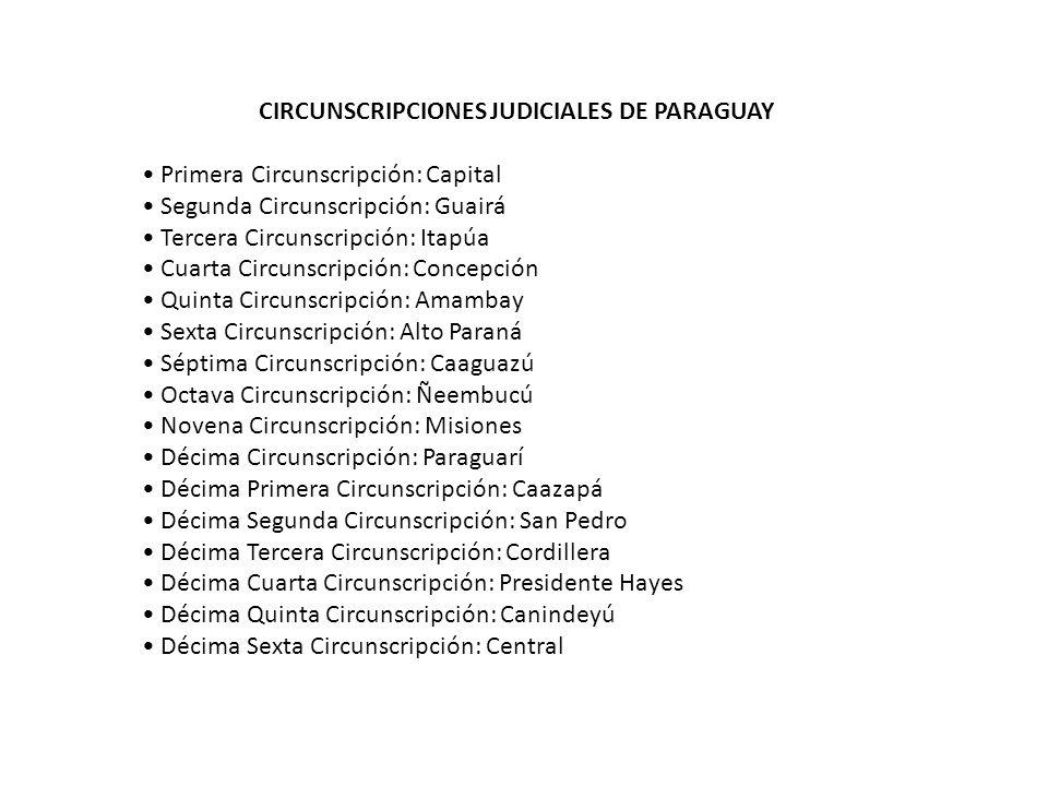 CIRCUNSCRIPCIONES JUDICIALES DE PARAGUAY Primera Circunscripción: Capital Segunda Circunscripción: Guairá Tercera Circunscripción: Itapúa Cuarta Circu