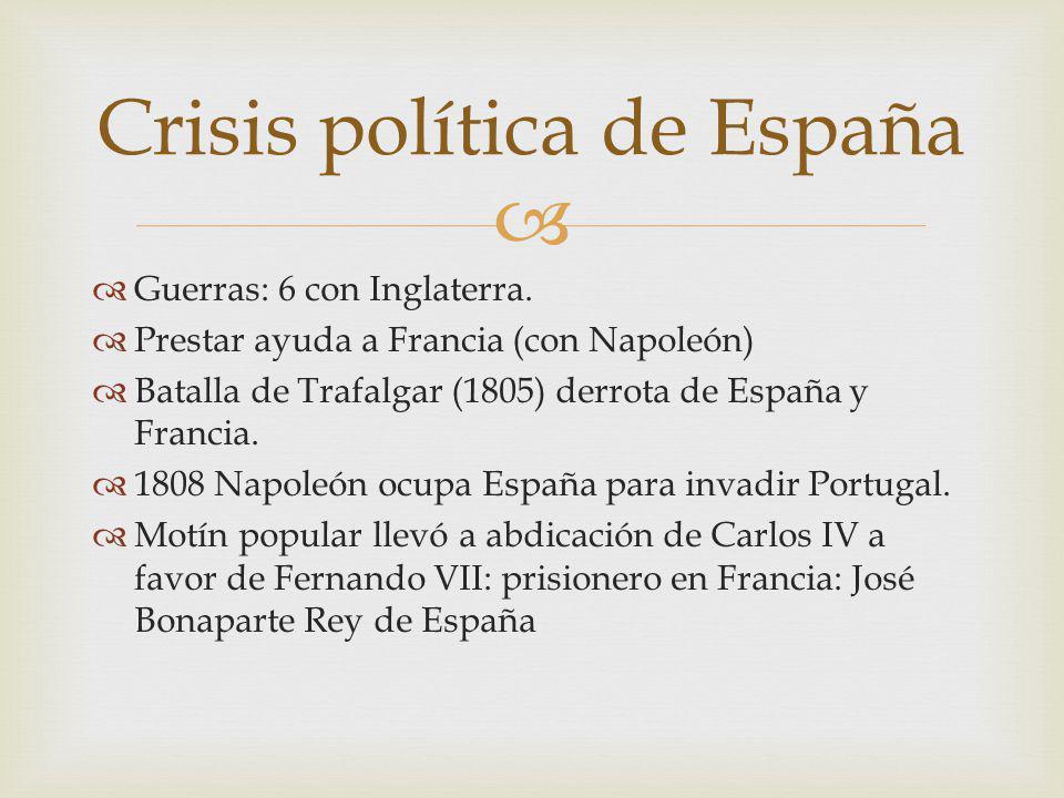 Guerras: 6 con Inglaterra. Prestar ayuda a Francia (con Napoleón) Batalla de Trafalgar (1805) derrota de España y Francia. 1808 Napoleón ocupa España