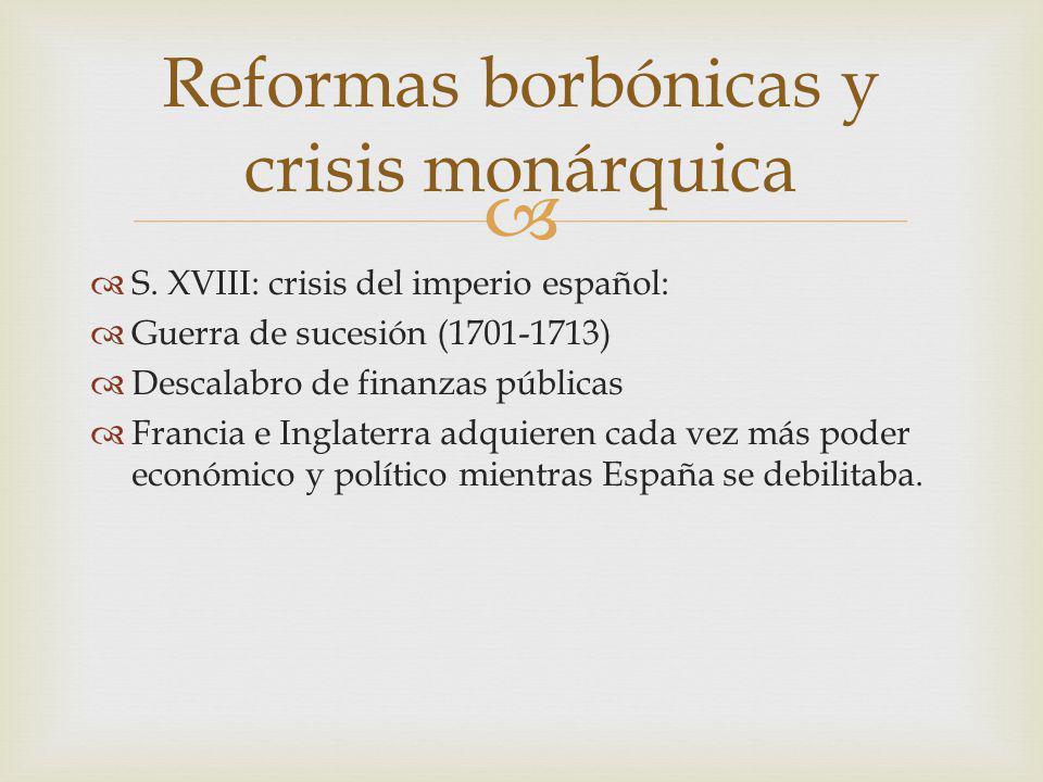 S. XVIII: crisis del imperio español: Guerra de sucesión (1701-1713) Descalabro de finanzas públicas Francia e Inglaterra adquieren cada vez más poder