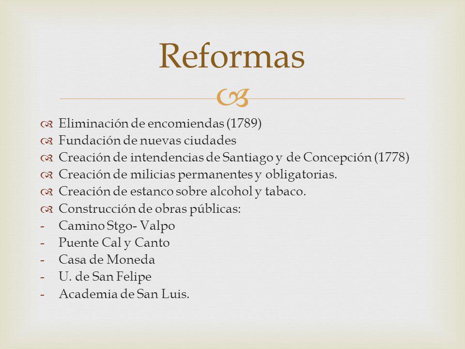Eliminación de encomiendas (1789) Fundación de nuevas ciudades Creación de intendencias de Santiago y de Concepción (1778) Creación de milicias perman