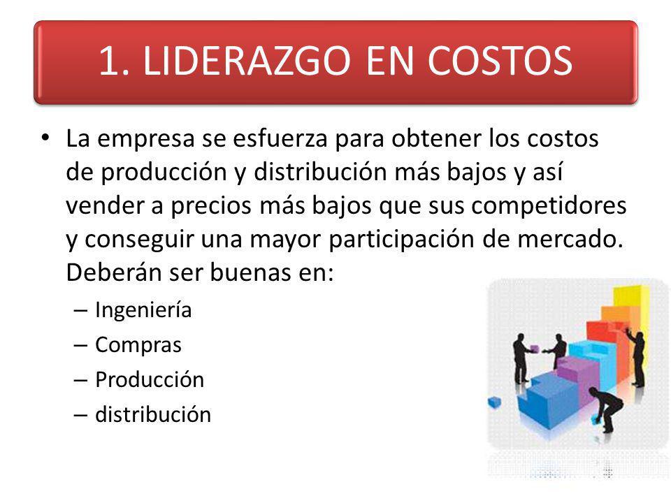 1. LIDERAZGO EN COSTOS La empresa se esfuerza para obtener los costos de producción y distribución más bajos y así vender a precios más bajos que sus