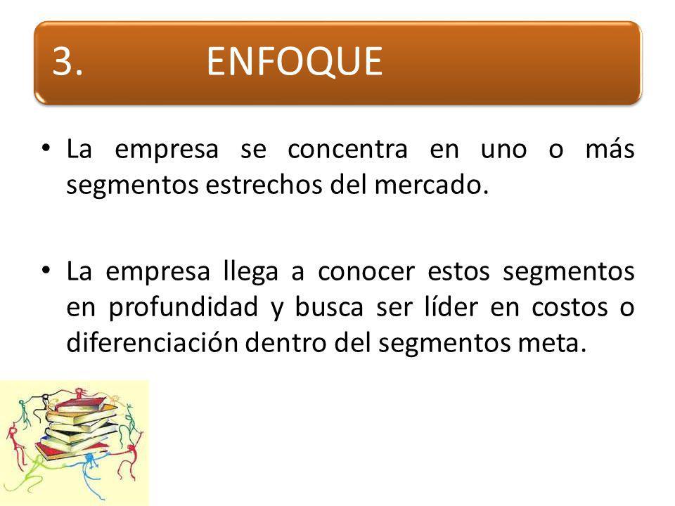 3.ENFOQUE La empresa se concentra en uno o más segmentos estrechos del mercado.