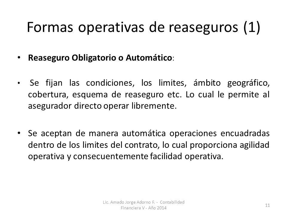 Formas operativas de reaseguros (1) Reaseguro Obligatorio o Automático : Se fijan las condiciones, los limites, ámbito geográfico, cobertura, esquema de reaseguro etc.