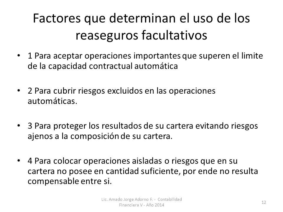Factores que determinan el uso de los reaseguros facultativos 1 Para aceptar operaciones importantes que superen el limite de la capacidad contractual automática 2 Para cubrir riesgos excluidos en las operaciones automáticas.