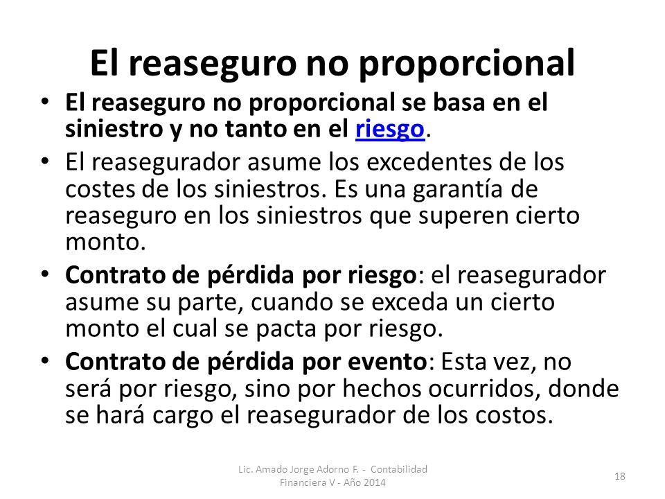 El reaseguro no proporcional El reaseguro no proporcional se basa en el siniestro y no tanto en el riesgo.riesgo El reasegurador asume los excedentes de los costes de los siniestros.