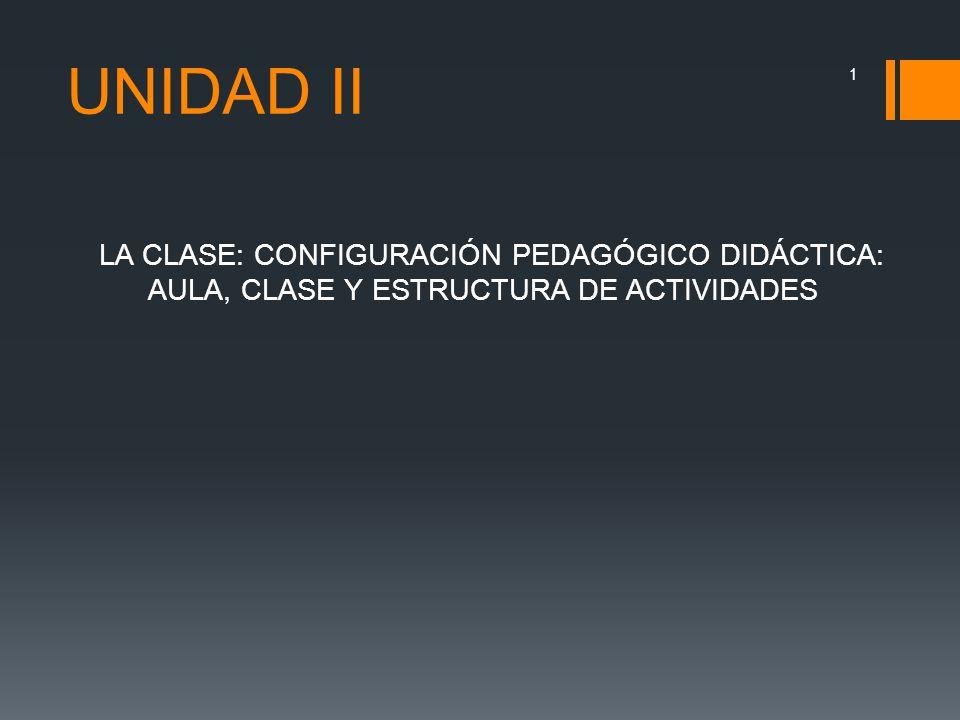 UNIDAD II LA CLASE: CONFIGURACIÓN PEDAGÓGICO DIDÁCTICA: AULA, CLASE Y ESTRUCTURA DE ACTIVIDADES 1