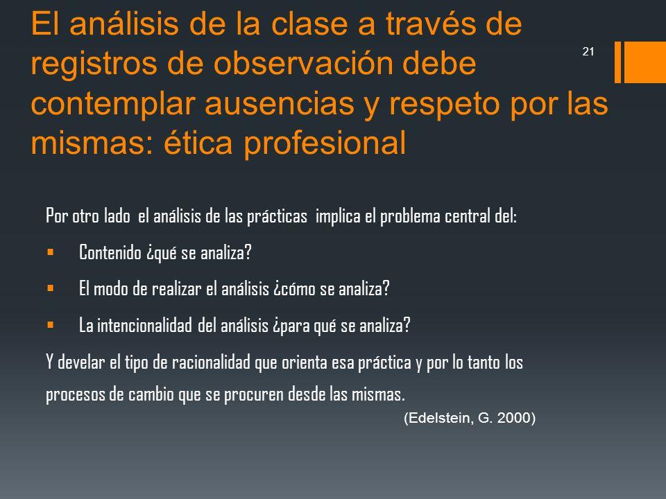 El análisis de la clase a través de registros de observación debe contemplar ausencias y respeto por las mismas: ética profesional Por otro lado el an