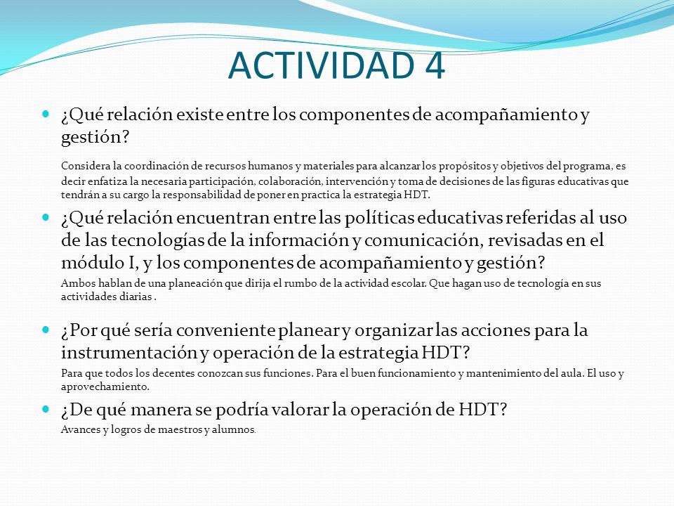 ACTIVIDAD 4 ¿Qué relación existe entre los componentes de acompañamiento y gestión.
