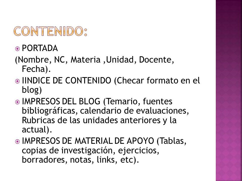 PORTADA (Nombre, NC, Materia,Unidad, Docente, Fecha).