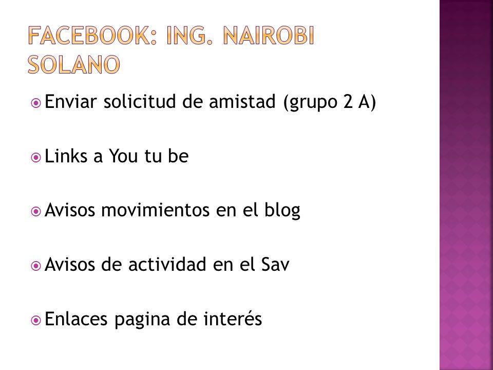 Enviar solicitud de amistad (grupo 2 A) Links a You tu be Avisos movimientos en el blog Avisos de actividad en el Sav Enlaces pagina de interés