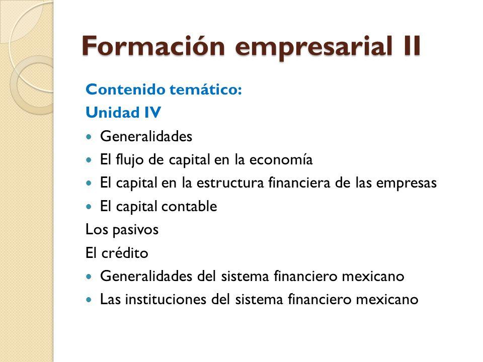 Formación empresarial II Contenido temático: Unidad IV Generalidades El flujo de capital en la economía El capital en la estructura financiera de las