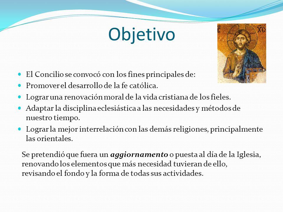 Objetivo El Concilio se convocó con los fines principales de: Promover el desarrollo de la fe católica. Lograr una renovación moral de la vida cristia