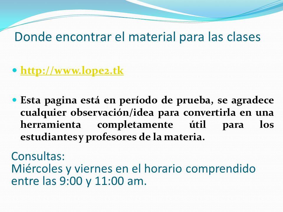 Donde encontrar el material para las clases http://www.lope2.tk Esta pagina está en período de prueba, se agradece cualquier observación/idea para con