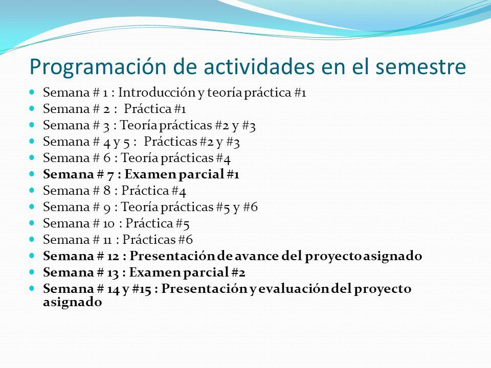 Programación de actividades en el semestre Semana # 1 : Introducción y teoría práctica #1 Semana # 2 : Práctica #1 Semana # 3 : Teoría prácticas #2 y