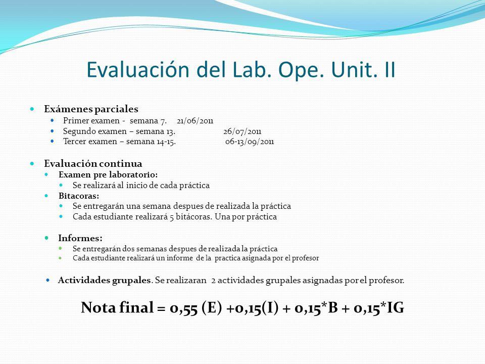 Evaluación del Lab. Ope. Unit. II Exámenes parciales Primer examen - semana 7. 21/06/2011 Segundo examen – semana 13.26/07/2011 Tercer examen – semana