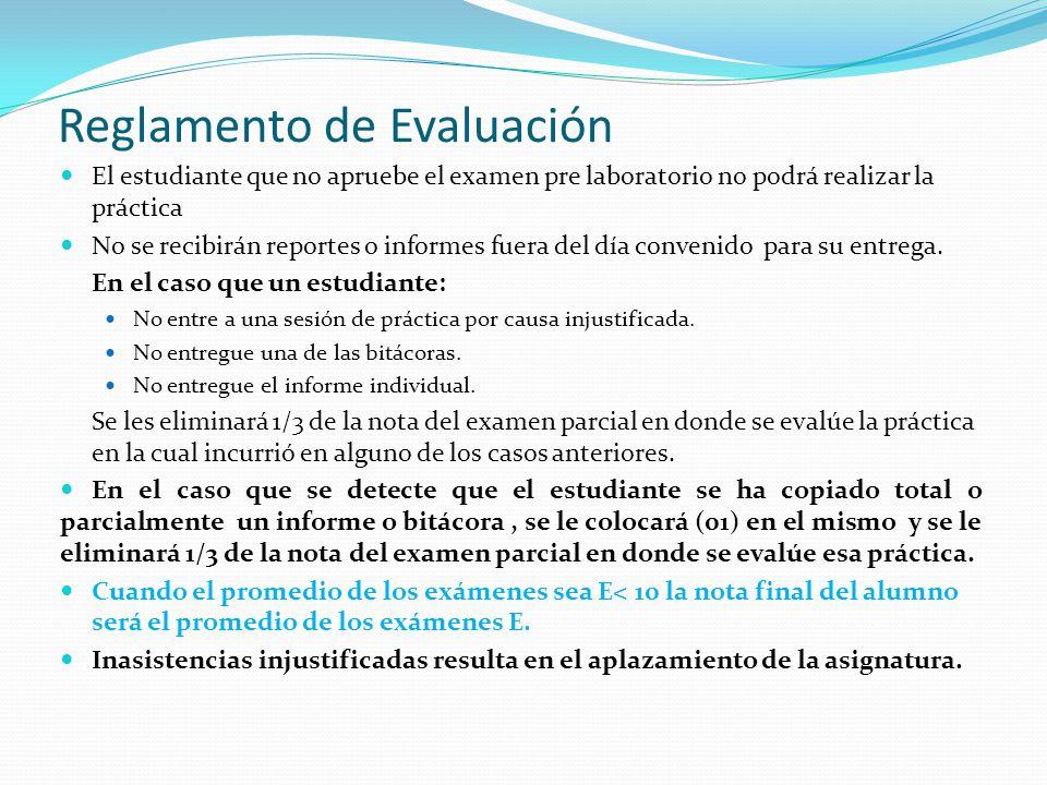 Reglamento de Evaluación El estudiante que no apruebe el examen pre laboratorio no podrá realizar la práctica No se recibirán reportes o informes fuer