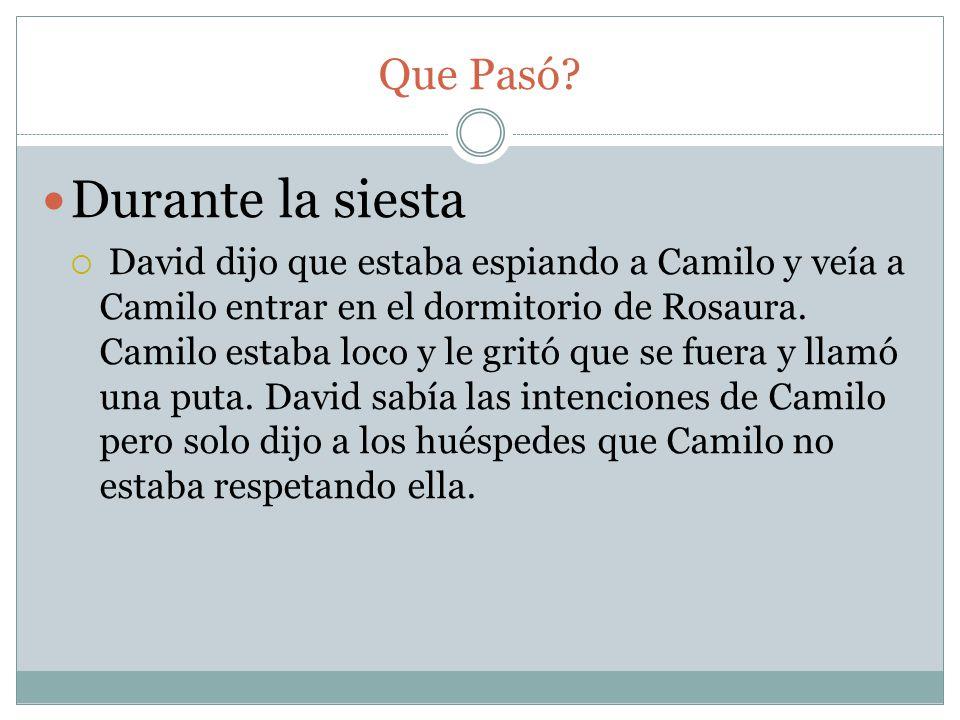 Que Pasó? Durante la siesta David dijo que estaba espiando a Camilo y veía a Camilo entrar en el dormitorio de Rosaura. Camilo estaba loco y le gritó