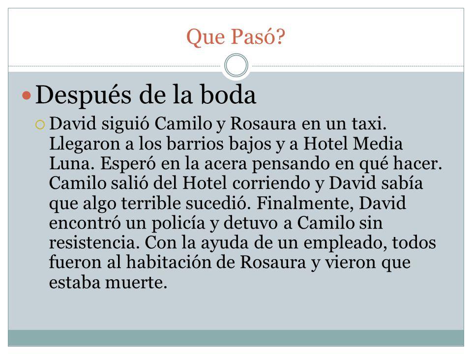 Que Pasó? Después de la boda David siguió Camilo y Rosaura en un taxi. Llegaron a los barrios bajos y a Hotel Media Luna. Esperó en la acera pensando